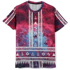 Galaxy Symbol Print Boyfriend T-Shirt (11.850 CLP) ❤ liked on Polyvore featuring tops, t-shirts, shirts, t shirt, multi, crew neck shirt, purple shirt, boyfriend shirt, boyfriend tee and galaxy print shirt