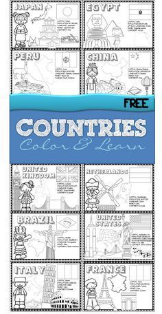 If you are wanting to teach kids about countries around the world this is a fun, free printable to teach kids about 18 countries - perfect for preschool, kindergarten, 1st grade, 2nd grade, and 3rd gr