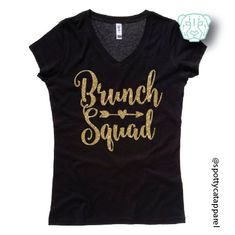BRUNCH SQUAD, V-NECK Tee shirt, fitness, Brunch, Champagne, Mimosas, Bloody Mary funny, love, by SpottyCatApparel on Etsy