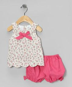 Pink Floral Scalloped Swing Top & Bloomers - Infant