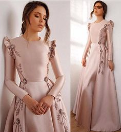 Latest & Trendy Dresses Styles for 2019 Girls Are you looking the Perfect outfit styles for yourself? just browse here and see the most popular ideas of dresses to make your look more beautiful. Muslim Evening Dresses, Hijab Evening Dress, Pink Evening Dress, Long Sleeve Evening Dresses, Muslim Prom Dress, Hijab Gown, Kaftan Gown, Hijab Dress Party, Afternoon Dresses