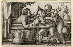 Ein Narr mit zwei badenden Frauen, engraving by Hans Sebald Beham 1541, Dresden (SKD), Germany