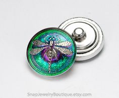 Snap button 23mm Czech glass, green fuchsia pink purple blue teal turquoise dragonfly, fits ginger snaps and noosa jewelry, item R239