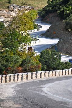 Winding road in the hills of Kalambaka Greece