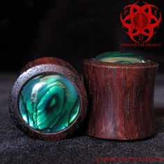 "1/2"" Wood Ear Plugs Green Abalone Paua Shell Inlay"