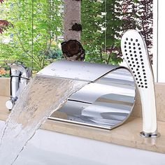 Badewannenarmaturen - Messing - Zeitgenössisch - Wasserfall - Chrom