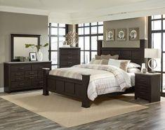 Standard Furniture Stonehill 4-Piece Poster Bedroom Set in Dark Brown