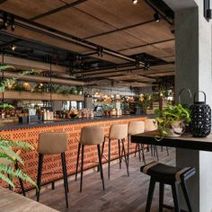 Zabeel House by Jumeirah – The Greens – Tophoteldesign Restaurant Lighting, Restaurant Bar, Restaurant Interiors, Hotel Interiors, Linear Lighting, Bar Lighting, High Bar Table, Exposed Ceilings, Hotels