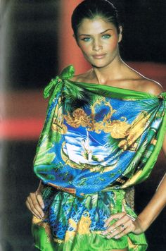 Green and blue Versace scarf dress- Helena Christensen- 90's. #stillhauteJUST VISIT MY SHOP http://www.realsilkscarf.com