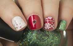Christmas Nail Art with Essie Jag-U-Are