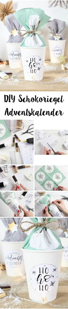 DIY candy bar advent calendar in paper cup love decorations - DIY Gifts Wrapping Gift, Love Decorations, Diy Advent Calendar, Diy Bar, Diy Weihnachten, Diy Tutorial, Diy Gifts, Paper Crafts, Place Card Holders