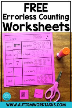 Try these errorless math worksheets to practice counting 1-10 with your special education students. Errorless learning tasks help students gain confidence and learn work task routines. These are perfect for independent work stations in special education classrooms. These cut and paste worksheets also target fine motor skills - double win! #autismworktasks #errorlesslearning Cut And Paste Worksheets, Free Math Worksheets, Preschool Learning, Math Activities, Teaching, Touch Math, Classroom Charts, Special Education Classroom, How To Gain Confidence