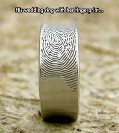 His wedding band with her fingerprint.love this idea Dupuis-I absolutely LOVE this! I would love to have your fingerprint on my wedding band Wedding Men, Our Wedding, Dream Wedding, Wedding Rings, Wedding Ideas, Male Wedding Bands, Wedding Photos, Wedding Stuff, Quirky Wedding