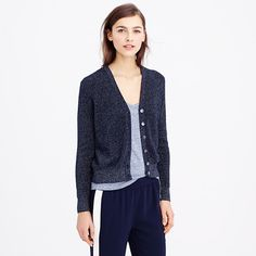 Certain days call for a little sparkle. (And by certain days we might mean all of them). We made this wear-with-everything ribbed cardigan with a touch of metallic thread, so suddenly your favorite T-shirt and jeans look a lil' fancy. <ul><li>Relaxed fit.</li><li>Hits slightly above hip.</li><li>Cotton/metallic threads.</li><li>Bracelet sleeves.</li><li>Rib trim at neck, cuffs and hem.</li><li>Dry clean.</li><li>Import.</li></ul>
