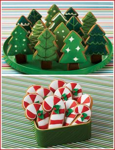 What a charmingly fun selection of decorated Christmas cookies. #trees #candy #canes #cute #decorated #baking #cookies #dessert #Christmas #food #red #white #green