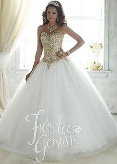 Vestido de la Fiesta blanco, grande, y magnifico 56286 Shining Embroidered Quinceanera Ball Gown