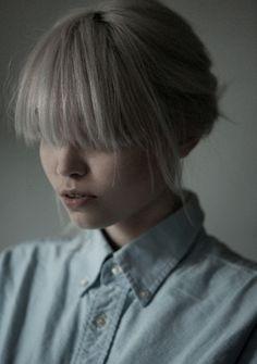 gray blonde hair + longer bangs
