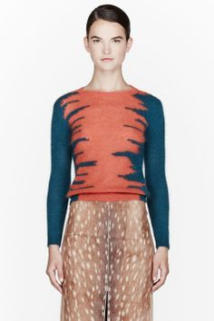 CARVEN Orange & teal mohair knit sweater
