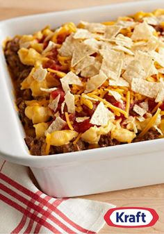 VELVEETA Nacho Bake – This recipe is flavorful with salsa, sour cream, and ground beef—all covered with a topping of cheesy crushed tortilla chips!