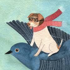 Dog in flight . Artist Manon Gauthier. .