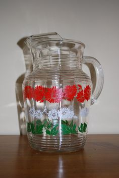 Retro Anchor Hocking GLASS PITCHER 1950's by BroadRiverExchange