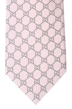 Gucci Tie Pink Gray GG Logo Design