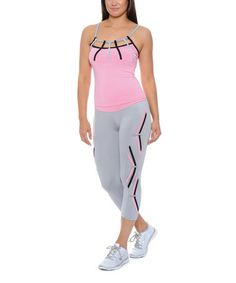 Loving this Gray & Pink Cutout Camisole & Capri Leggings on #zulily! #zulilyfinds