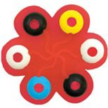 Soothing Silicone Teether features bright colored rings and textures to soothe and comfort teething babies.