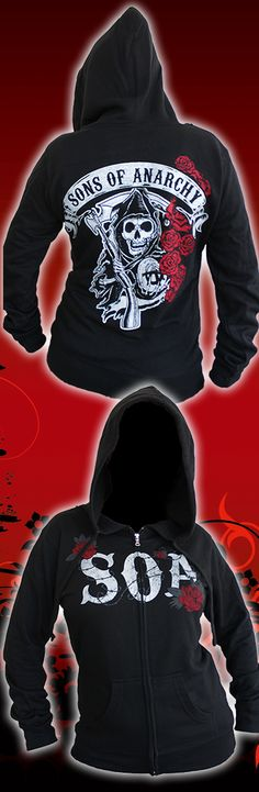 Represent Sons of Anarchy's Reaper Crew in a Ladies Reaper Rose Hoodie. Get your hoodie here: http://store.bikerornot.com/sons-of-anarchy-ladies-reaper-roses-hoodie-black/?utm_source=pinterest&utm_medium=promotedpin_050415_1219&utm_campaign=050415