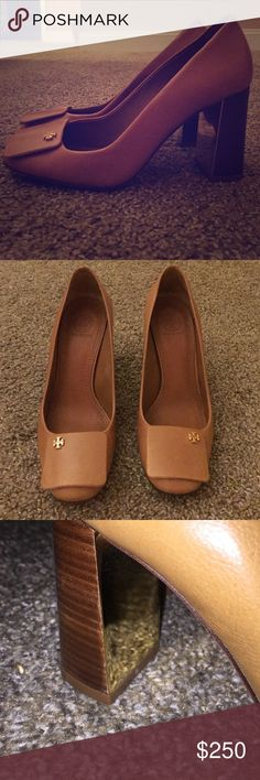 Tory burch pump Great condition. Gold inside heel. Chunky heel. Tan with logo on toe Tory Burch Shoes Heels