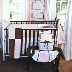 Pink Chocolate 4 Piece Crib Bedding Set