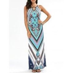 trendsgal.com - Trendsgal Floral Chevron Sleeveless Keyhole Neck Maxi Dress - AdoreWe.com