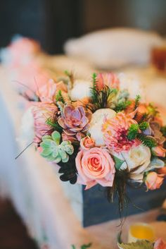 Coral, Mint, Rustic Garden Wedding - Centerpiece,  Bouquet,  Rose