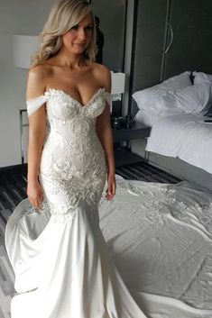 Gorgeous Mermaid Off the Shoulder Wedding Dress with Lace Appliques Pearls HOM11600