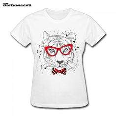$11.58 2017 Funny Women T Shirt  Short Sleeve 100% Cotton The tiger with glasses Printed T-shirt Brand Clothing Female Top Tees WTD039