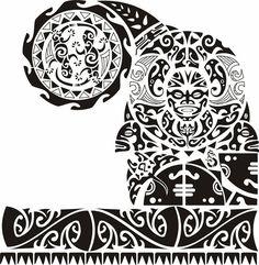 Эскиз тату полинезия полурукав с заходом на грудь