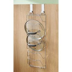 magazine rack to hold pot and pan lids -perfect for my pan cupboard!