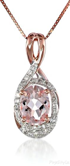 Pink Gold Morganite Diamond Necklace