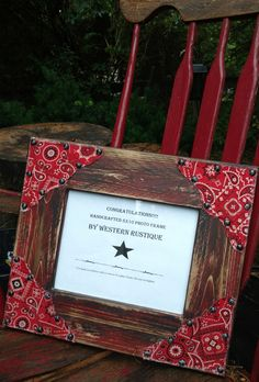 Farmhouse Décor 8x10 Photo Frame with Rustic Red Barnwood Frame, Distressed Tea Stain Paisley's accented with Antiqued Rivets. by WesternRustique on Etsy
