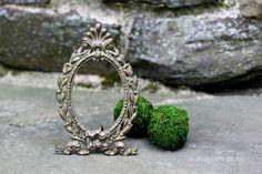 Ornate Oval Photo Frame w Easel Stand. Vintage. Cast Metal, Gilded Gold. Ribbon. Shell. Renaissance. Art Nouveau. Regency. NeoClassical.