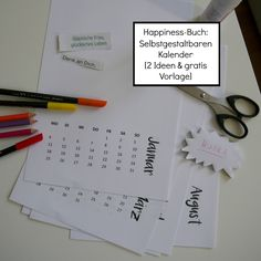 Happiness-Buch Kalender 2016 gratis Download zum selbstgestalten individuell