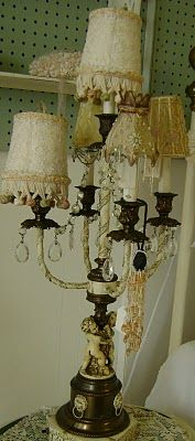 gorgeous lamp dripping w/ crystals...and complete w/ cherubs:)!!