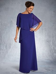 Long Chiffon Beaded Mother of The Bride Dresses 907045