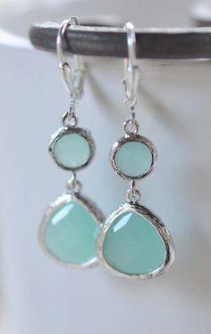 Aqua Silver Teardrop Dangle Earrings. Earrings. Drop. Dangle. Bridesmaid Earrings. Wedding Jewelry. Christmas Gift.  Holiday Jewelry.