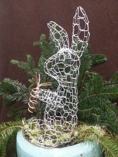 Bunny Rabbit Topiary Frame  Sitting Small by TerraTopiary on Etsy