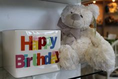 Just add flowers - perfect Birthday combo with this vase and teddy bear!