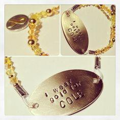 Childhood Cancer Awareness Bracelet customized by MetalMamaDesigns