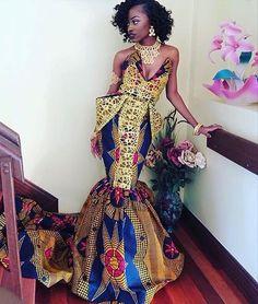 Kente dress By Diyanu African Prom Dresses, African Wedding Dress, African Fashion Dresses, Fashion Outfits, Ankara Gowns, Ghanaian Fashion, Men's Fashion, African Outfits, Fashion Ideas