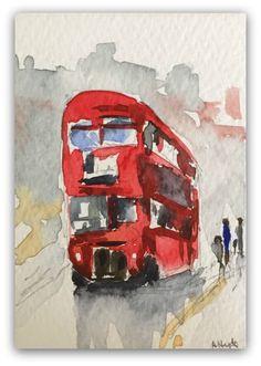 London Bus painting Original Miniature by StudioHydeArt on Etsy #original #watercolour #painting #london #londonbus #redbus View: https://www.etsy.com/uk/listing/506079232/london-bus-painting-original-miniature?ref=listing-shop-header-0