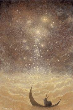 Star Fallsby ~Ebineyland on deviantart  love the rabbit on the moon!